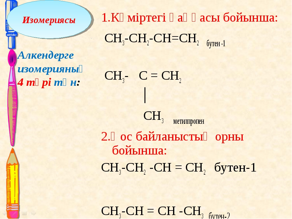 1.Көміртегі қаңқасы бойынша: CH3-CH2-CH=CH2 бутен -1 CH3- C = CH2 │ CH3 мети...
