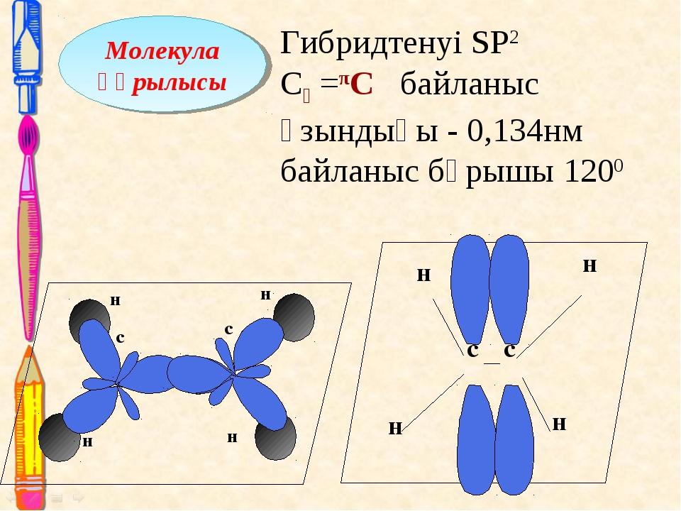 Молекула құрылысы Гибридтенуі SP2 Сᵟ =πC байланыс ұзындығы - 0,134нм байланыс...