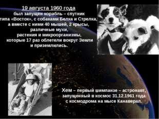 19 августа 1960 года был запущен корабль – спутник типа «Восток», с собаками
