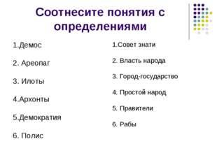 Соотнесите понятия с определениями 1.Демос 2. Ареопаг 3. Илоты 4.Архонты 5.Де