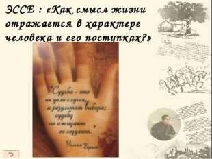 ЭССЕ : «Как смысл жизни отражается в характере человека и его поступках?»
