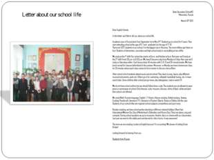 Letter about our school life