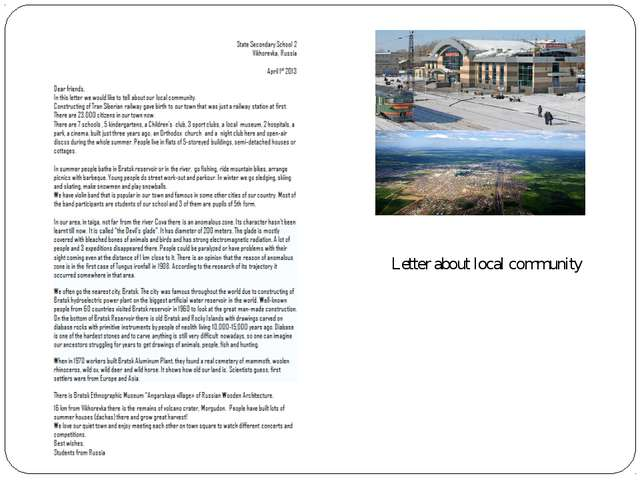 Letter about local community