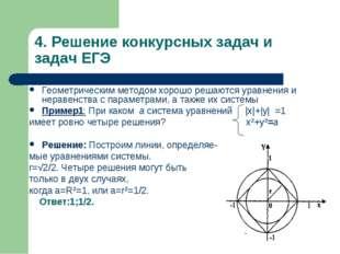 4. Решение конкурсных задач и задач ЕГЭ Геометрическим методом хорошо решаютс