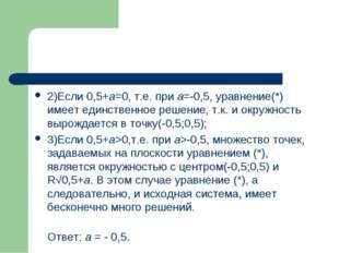 2)Если 0,5+а=0, т.е. при а=-0,5, уравнение(*) имеет единственное решение, т.к
