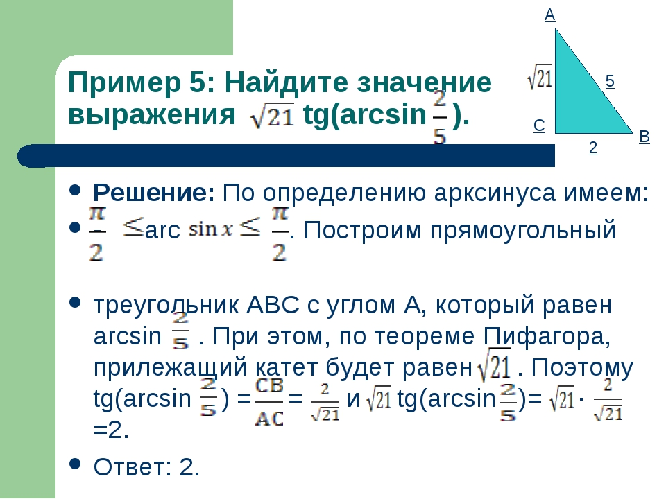 Пример 5: Найдите значение выражения tg(arcsin ). Решение: По определению арк...
