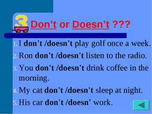 Don'torDoesn't??? Idon't /doesn'tplay golf once a week. Rondon't /does