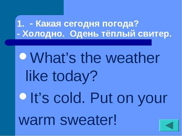 1. - Какая сегодня погода? - Холодно. Одень тёплый свитер. What's the weather...