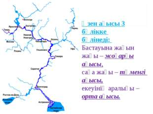 Өзен ағысы 3 бөлікке бөлінеді: Бастауына жақын жағы – жоғарғы ағысы, саға жағ