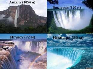Анхель (1054 м) Виктория (120 м) Игуасу (72 м) Ниагара (50 м)