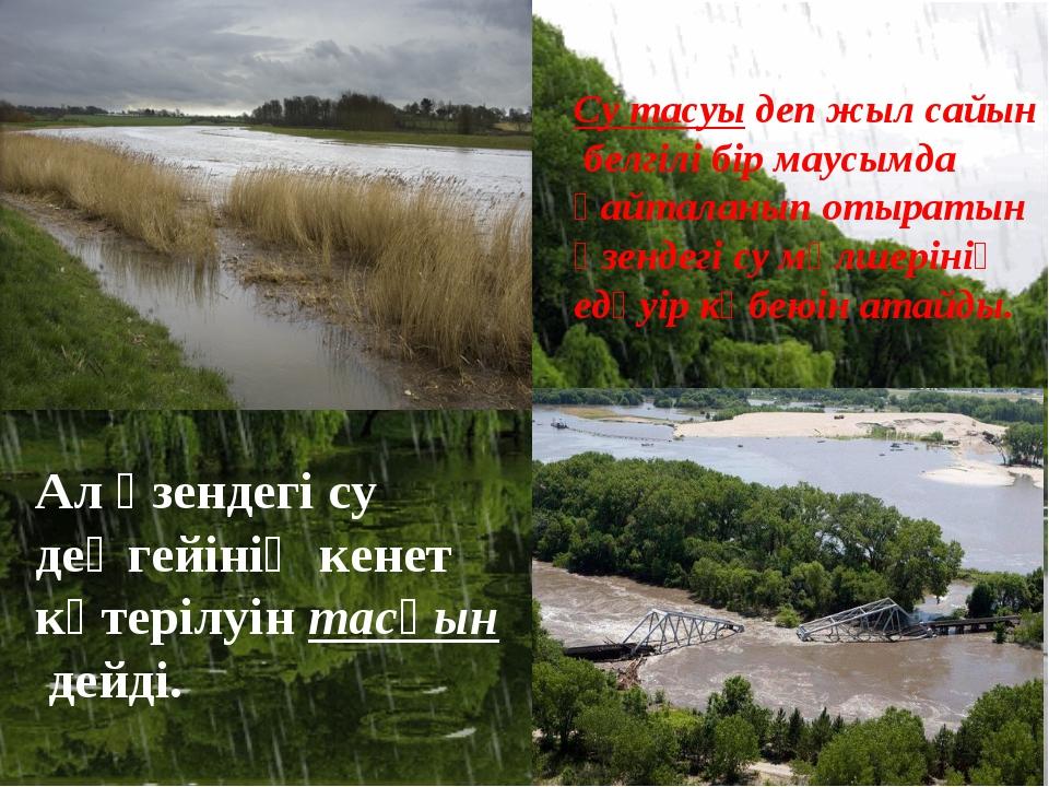 Су тасуы деп жыл сайын белгілі бір маусымда қайталанып отыратын өзендегі су м...
