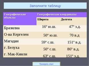 Заполните таблицу 16º ю.ш. 47º з.д. Проверить ответ 50º ю.ш. 70 в.д 59º с.ш.