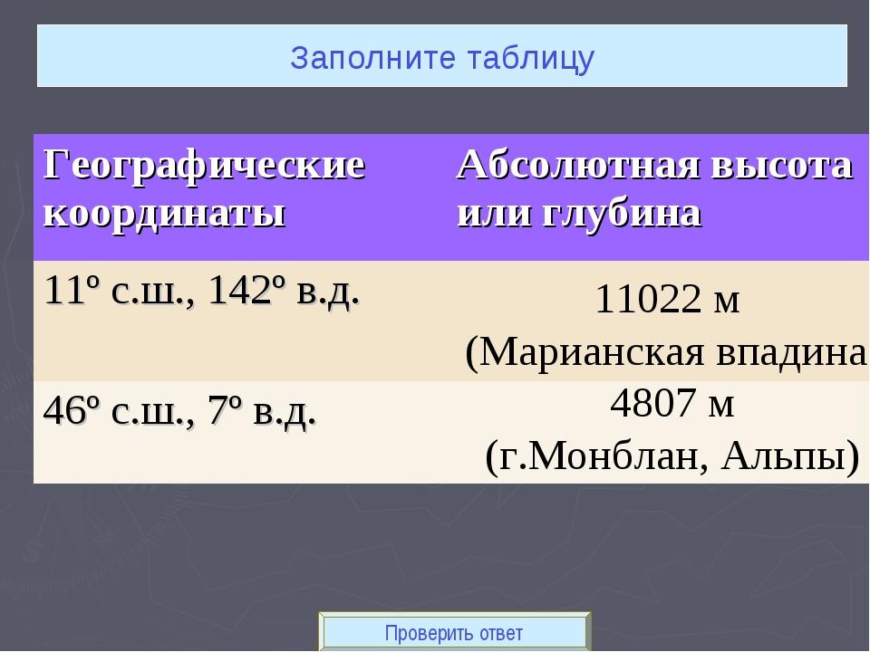 Проверить ответ Заполните таблицу 11022 м (Марианская впадина) 4807 м (г.Монб...