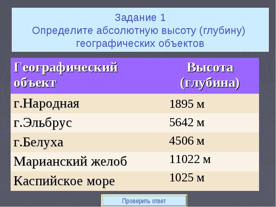 Проверить ответ 1895 м 5642 м 4506 м 11022 м 1025 м Задание 1 Определите абсо...