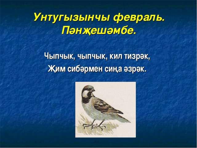 Унтугызынчы февраль. Пәнҗешәмбе. Чыпчык, чыпчык, кил тизрәк, Җим сибәрмен сиң...
