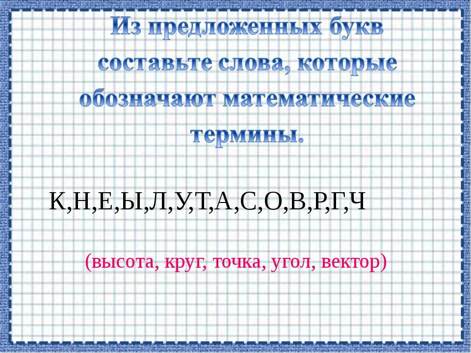 К,Н,Е,Ы,Л,У,Т,А,С,О,В,Р,Г,Ч (высота, круг, точка, угол, вектор)