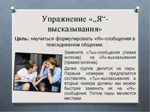 """Упражнение «""""Я""""-высказывания» Цель: научиться формулировать «Я»-сообщения в п"""
