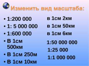 1:200 000 1: 5 000 000 1:600 000 В 1см 500км В 1см 250м В 1см 10км в 1см 2км