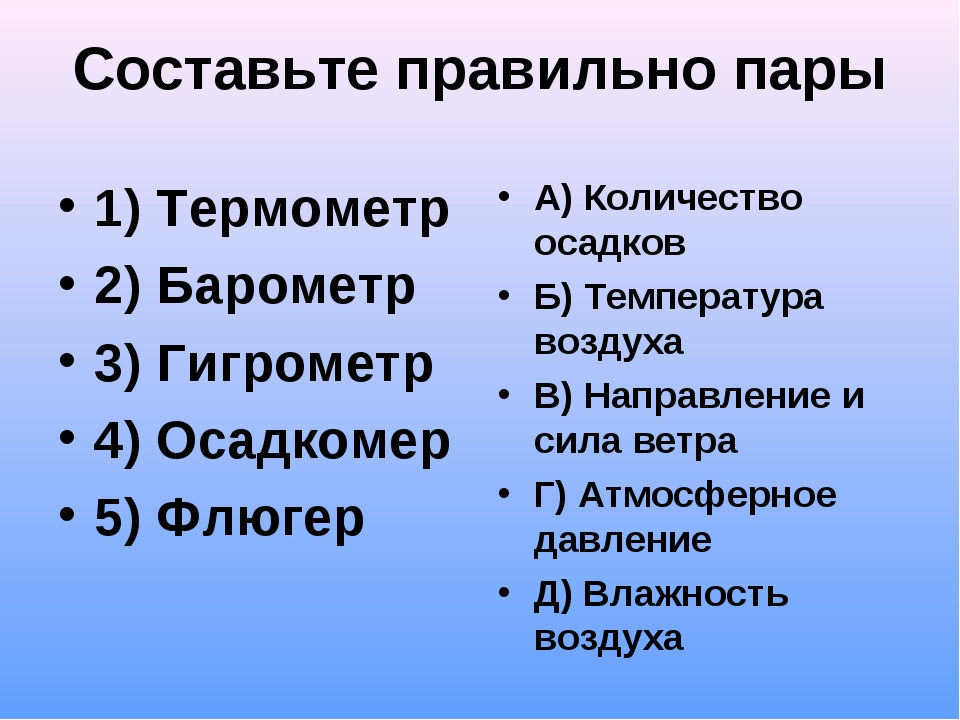 Составьте правильно пары 1) Термометр 2) Барометр 3) Гигрометр 4) Осадкомер 5...