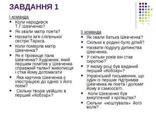 ЗАВДАННЯ 1 І команда Коли народився Т.Г.Шевченко? Як звали матір поета? Назва