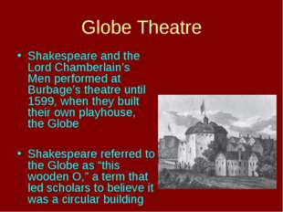 Globe Theatre Shakespeare and the Lord Chamberlain's Men performed at Burbage
