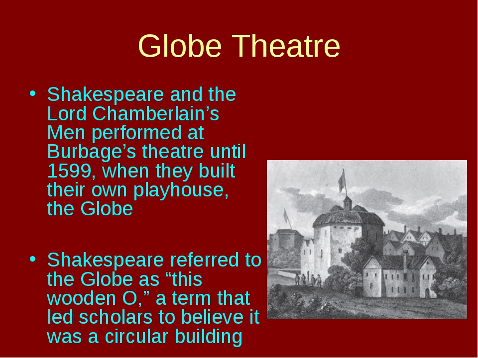 Globe Theatre Shakespeare and the Lord Chamberlain's Men performed at Burbage...