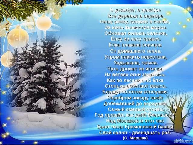 (С. Маршак) В декабре, в декабре Все деревья в серебре. Нашу речку, словно в...