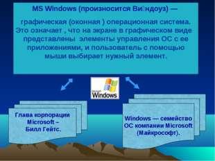 MS Windows (произносится Ви́ндоуз) — графическая (оконная ) операционная сист