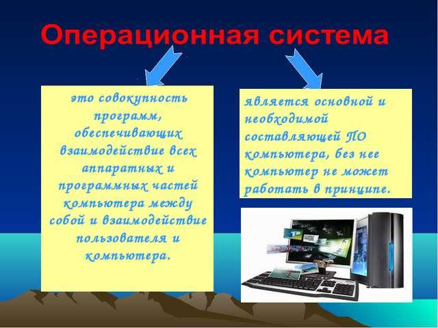 это совокупность программ, обеспечивающих взаимодействие всех аппаратных и п...