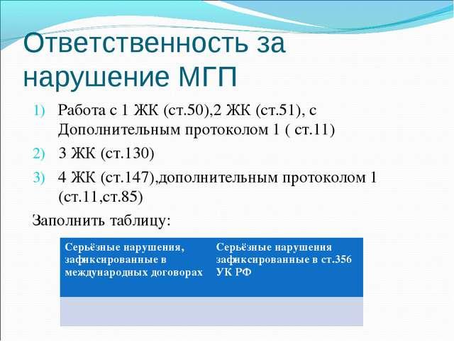 Работа с 1 ЖК (ст.50),2 ЖК (ст.51), с Дополнительным протоколом 1 ( ст.11) 3...