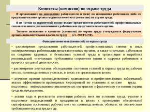 Комитеты (комиссии) по охране труда В организациях по инициативе работодателя
