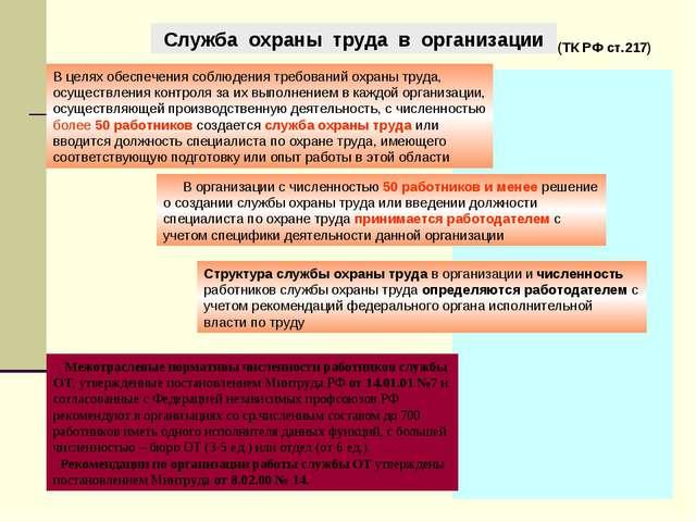 Служба охраны труда в организации В целях обеспечения соблюдения требований о...