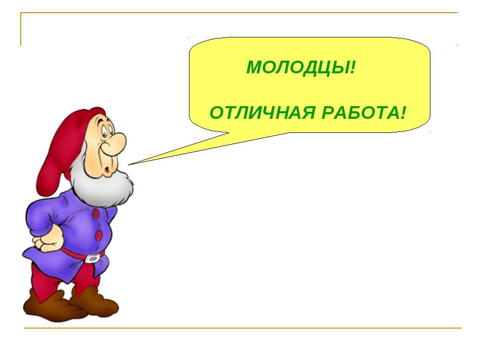МОЛОДЦЫ! ОТЛИЧНАЯ РАБОТА!