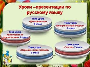 Уроки –презентации по русскому языку Тема урока «Деепричастие» 8 класс Тема у
