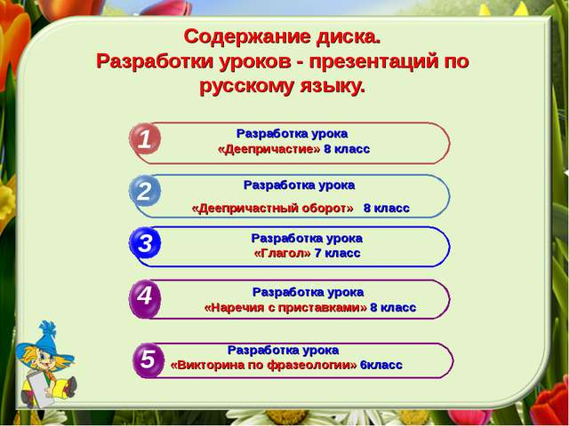 Содержание диска. Разработки уроков - презентаций по русскому языку. 1 2 3 Ра...