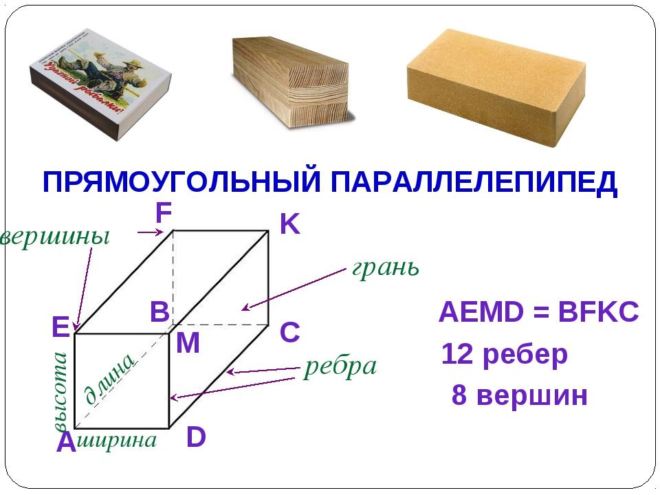 ПРЯМОУГОЛЬНЫЙ ПАРАЛЛЕЛЕПИПЕД A D C K F B E M грань AEMD = BFKC ребра вершины...