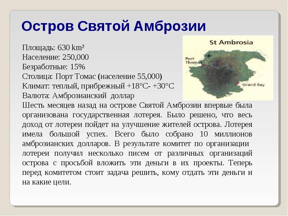 Остров Святой Амброзии Площадь: 630 km² Население: 250,000 Безработные: 15%...