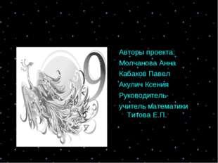 Авторы проекта: Молчанова Анна Кабаков Павел Акулич Ксения Руководитель- учит