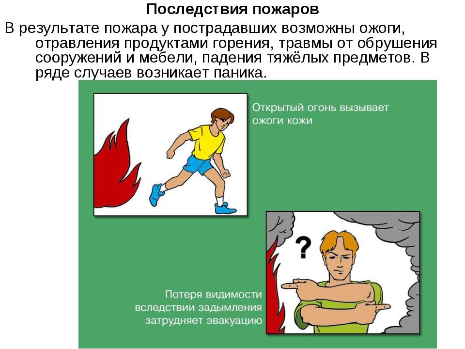 Последствия пожаров В результате пожара у пострадавших возможны ожоги, отравл...