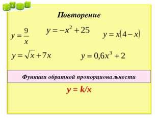 Повторение Функции обратной пропорциональности у = k/x