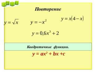 Повторение Квадратичные функции. у = ах2 + bx +c