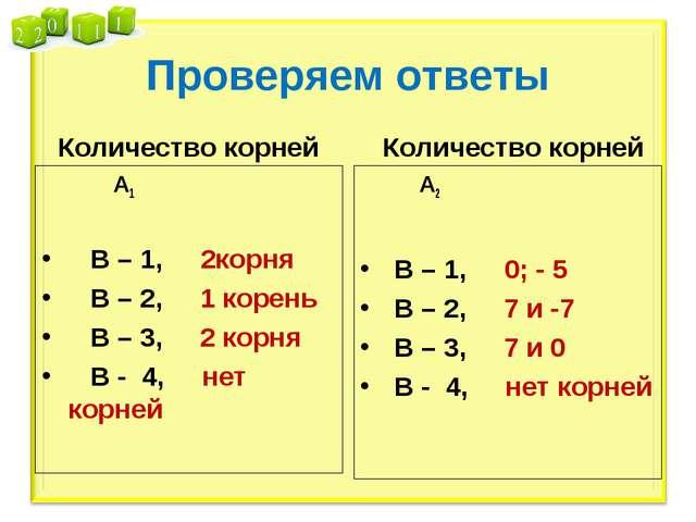 Проверяем ответы Количество корней А1 В – 1, 2корня В – 2, 1 корень В – 3, 2...