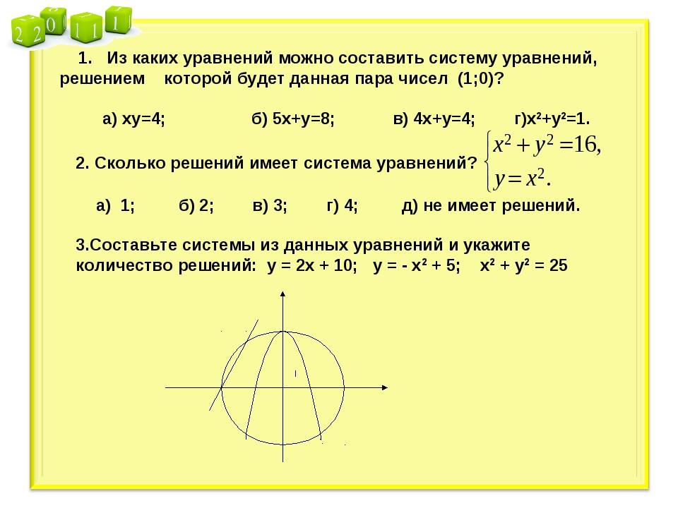 1. Из каких уравнений можно составить систему уравнений, решением которой бу...