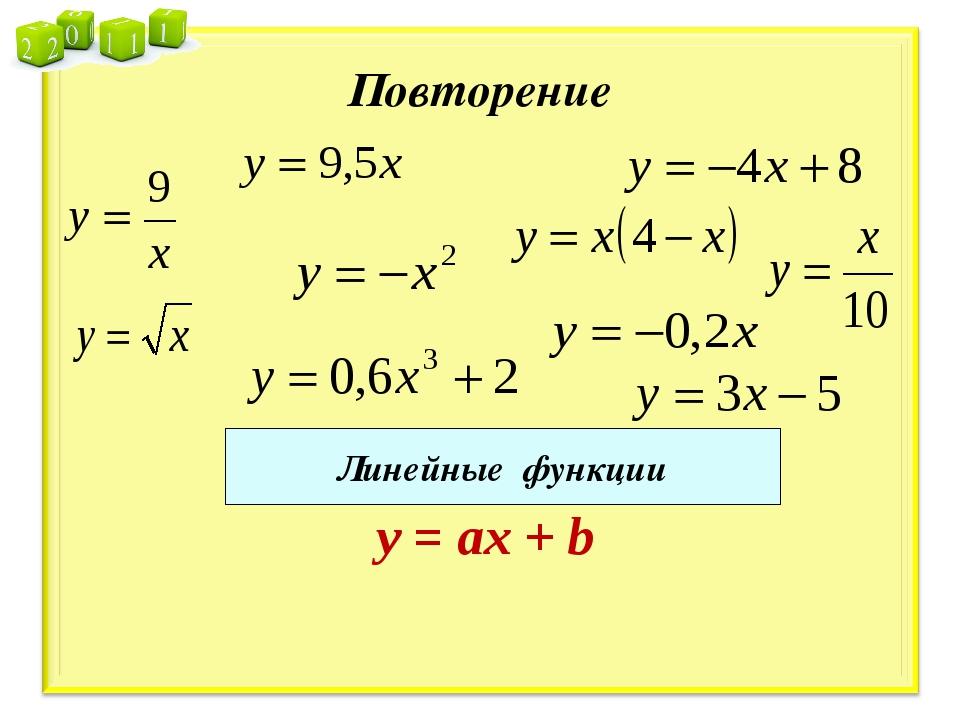 Повторение Линейные функции y = ах + b