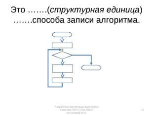 Это …….(структурная единица) …….способа записи алгоритма. Разработка презента