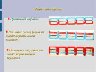 Машинная строчка Правильная строчка Петляние сверху (верхняя нитка перетягива