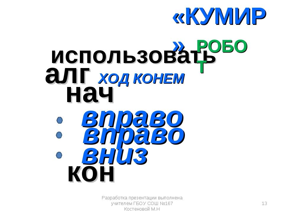алг ХОД КОНЕМ нач вправо кон вправо вниз использовать РОБОТ «КУМИР» Разработк...