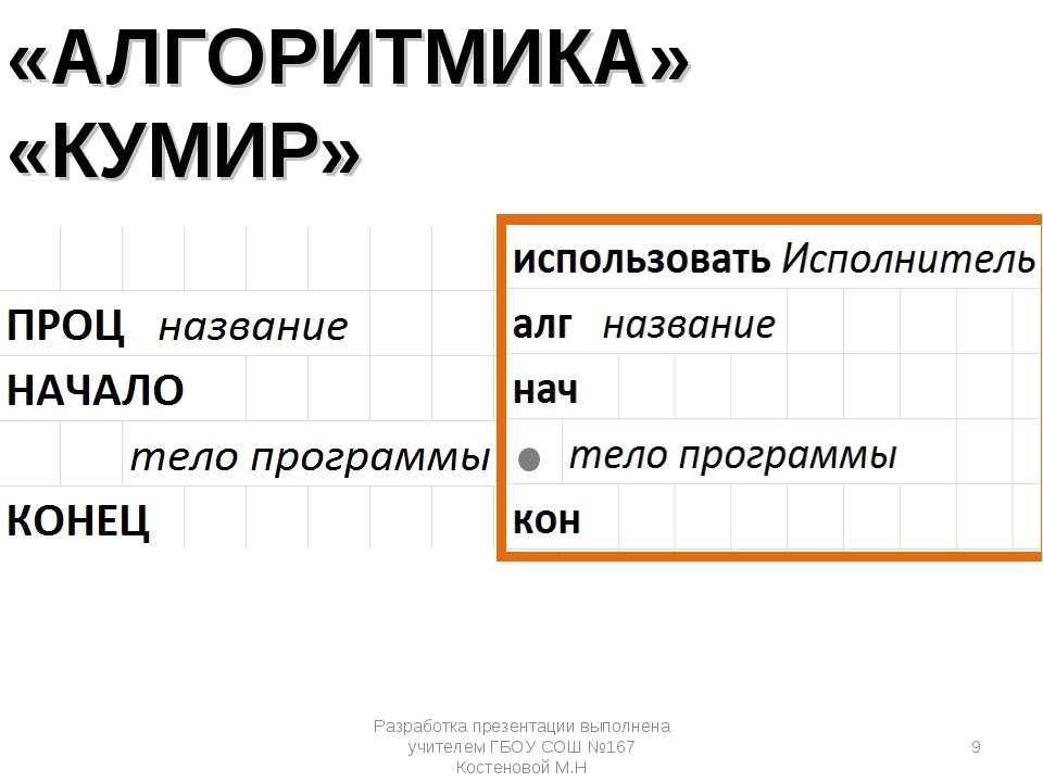 «АЛГОРИТМИКА» «КУМИР» Разработка презентации выполнена учителем ГБОУ СОШ №167...