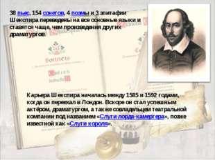 38 пьес, 154 сонетов, 4 поэмы и 3 эпитафии Шекспира переведены на все основны