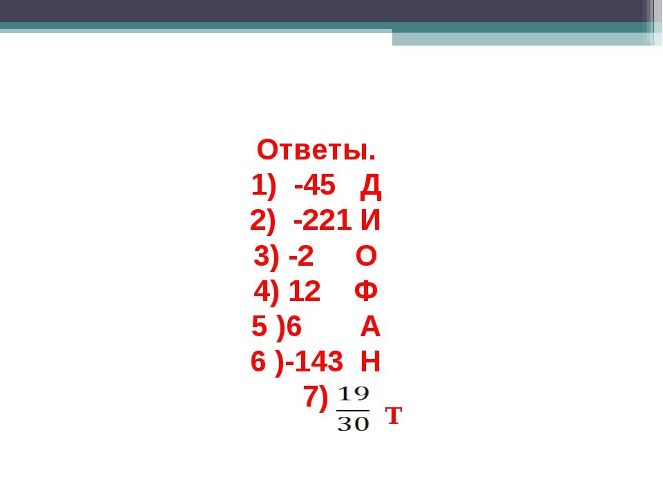 Ответы. 1) -45 Д 2) -221 И 3) -2 О 4) 12 Ф 5 )6 А 6 )-143 Н 7) Т
